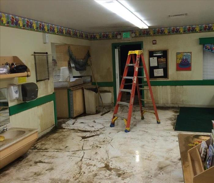 Water Damage in a School in Austin, TX Before